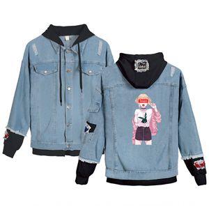 Denim coat Japanese comic wear couple wear Coat couple dress girl senpai printed fashion brand denim cardigan lovers