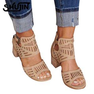 Shujin Yaz Kadın Kepçe Sandalet Moda Bayan Hollow Out Ayakkabı Kare Orta Topuklar Ayakkabı Rahat PU Deri burnu açık ayakkabılar