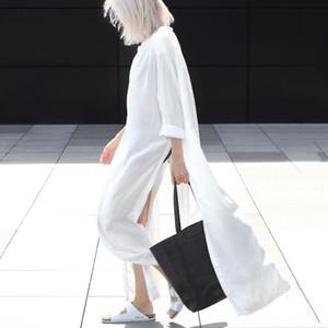 Roupa de tamanho grande Vestidos Verão Mulheres Designer Clothes Camisa longa fêmea V Neck Dividir Único Breasted Branco Vestidos Primavera Sólidos