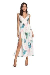 Женское сексуальное платье с цветочным принтом Повседневные комбинезоны и топы Летние женские широкие брюки с открытой спиной
