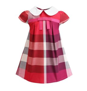 Hot Sell 2020 NEW arrival summer Girls Lapel academy wind sleeveless puckered skirt high quality cotton baby kids big plaid dress