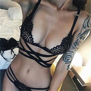 Sexy Cruz Lace bandagem Underwer Set Tops escavar Briefs corda G T de volta as mulheres Roupa lingeries navio da gota roupa de dormir
