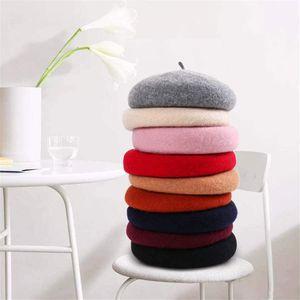 Otoño e invierno nuevo sombrero de invierno de lana para mujer boina de lana salvaje estudiante arte pintor sombrero sombrero de calabaza al por mayor