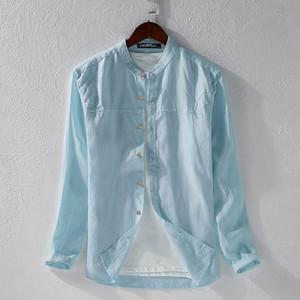 INCERUN Hombres camisa casual color sólido del algodón de Harajuku manga larga blusa de cuello de pie transpirable Streetwear japoneses camisas 2020