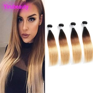 بيرو الشعر البشري 1B 4 27 أومبير عذراء الشعر حريري مستقيم 1B 4 27 مزدوج اللفت 4 حزم مستقيم رخيصة بالجملة