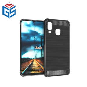 Para Samsung Galaxy A40 fibra de carbono TPU Cell Phone Case capa traseira pequena MOQ
