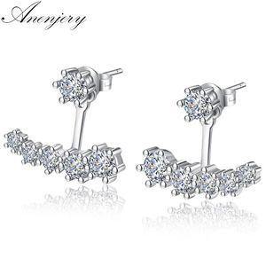Anenjery di lusso 925 orecchini in argento sterling sei artiglio zirconia anteriore posteriore bifacciale foglie orecchini per le donne S-E264
