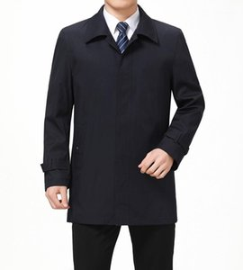 Middleaged And Elder Coats Autumn Mens Business Designer Trench Coats Lapel Neck Long Sleeve Outerwear Casual