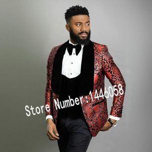 High Quality One Button Handsome Shawl Lapel Groom Tuxedos Men Suits Wedding Prom Dinner Best Man Blazer(Jacket+Pants+Tie+Vest) W150