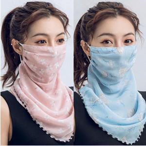 rosa azul bufanda de las mujeres de la mascarilla multifuncional 13 estilos gasa de seda pañuelo al aire libre a prueba de viento de la media cara de polvo a prueba de Máscaras de protección solar