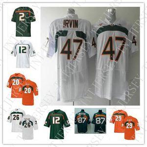 Cheap custom Miami Hurricanes football jerseys 2 Jon Beason 12 Jacory Harris 20 Ed Reed 26 Sean Taylor 47 Michael Irvin 87 Reggie Wayne