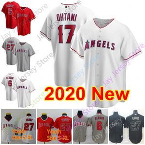 2020 Los Angeles Jersey 6 Anthony Rendon 17 Shohei Ohtani 27 Mike Alabalık Erkekler Kadınlar Gençlik Beyaz Kırmızı Düğme Aşağı Nakış