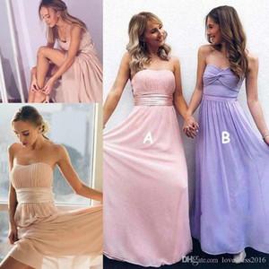 간단한 시폰 라인 긴 롱 드레스 메이드 명예 복장 2019 Sweetheart 파격 파격 웨딩 드레스