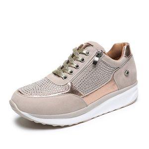 Tasarımcı Kadın Platformu Eğitmenler Glitter Dantel-up Sneakers Fermuar Kama Topuk Ayakkabı İlkbahar Yeni Erkek Yüksek Kalite Nefes Ayakkabı