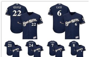 MilwaukeeBrewers 22 Christian Yelich 8 Ryan Braun Majestic Authentic Collection Base Player бейсбольная Майка