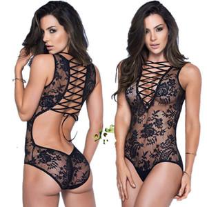 Seksi dantel bandaj Lingerie Erotik Teddy Iç Çamaşırı vücut suit seks Kostüm elbise backless pijama kadın esaret elbise catsuit