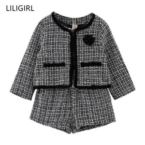 Bebek Kız İyi Kalite Eşofman Kostüm Y190522 için Liligirl Çocuk Kız Mizaç Giyim Seti 2019 Yeni Ekose Ceket + Şort 2adet Suit