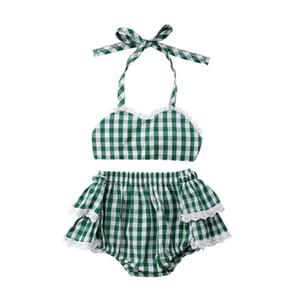Emmababy Новорожденного Детских ребёнок Прекрасного плед Lace ремень Crop Tops + Tutu Шорты Юбка Нижнее Комплект одежда