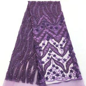 VILLIEA Purple Beaded French Nigerian Laces Telas Lentejuelas Tulle Africanos de Alta Calidad Tela de la boda de encaje de tul francés
