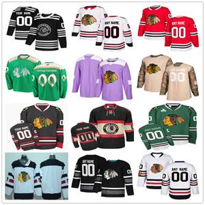 Custom Chicago Blackhawks # 64 David Kampf 24 Dominik Kahun 91 Drake Caggiula 30 Belfour Hombres Mujeres Mujeres Hockey Jerseys