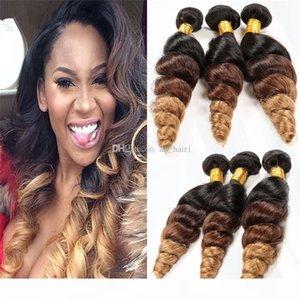 8A Grad Malaysian lösen Welle Ombre Hair 3 Bundles # 1B 4 27 Ombre Malaysian Menschenhaar-Verlängerungen lösen Welle Malaysian Haar Weaves