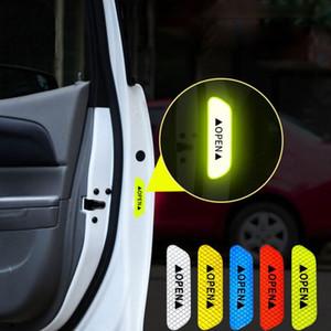 4Pcs Set Car Door Stickers DIY Car OPEN Reflective Tape Warning Mark Reflective Open Notice Bicycle Accessories Exterior