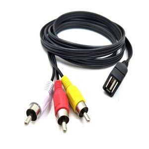 500PCS 5 أقدام / 1.5M USB 2.0 ذكر إلى 3 RCA ذكر فيديو A / V العملي كاميرا محول العظمى للمعدات AV