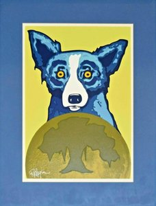 a148#George Rodrigue Blue Dog Take Me To Your Leader Home Decor Handpainted &HD Print Oil Painting On Canvas Wall Art Canvas Pictures 200117