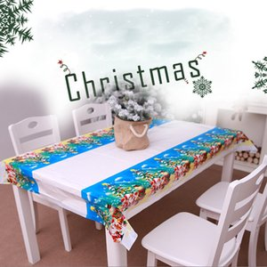 PVC Waterproof Rectangular Christmas Kitchen Tablecloth Tablecloth Santa Claus New Year Family Party Decoration