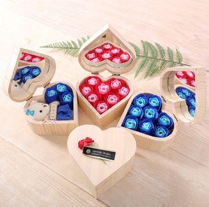 Форма Сердца Деревянная Коробка Цветок Розы Красочный Букет Ручной Работы Роза Цветок Мыло С Зеркальной Коробкой Для Подарка На День Святого Валентина