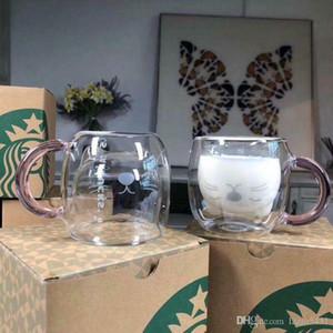 여름 스타벅스 대만 작은 고양이 투명한 유리 컵 핑크 처리 더블 유리제 커피 우유잔 250ml