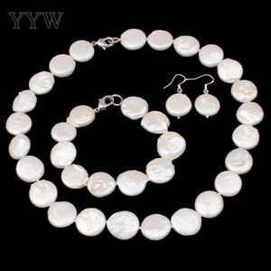 Natürliche Süßwasser Zuchtperlen Schmuck Sets Armband Ohrring Halskette Button Weiß 10-11mm Perlenkette Set Frauen