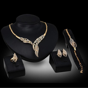 Elegant Wedding Bridal Jewelry Prom Silver plated Rhinestone Crystal Birdal Jewelry New Bling Necklace Bracelet Ring Earring Set
