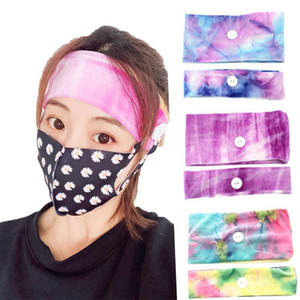 Gradient Mask Earloop Hairband Mask Ear Buckle Elastic Headband Ear Lanyard Holder Sports Headbands With Button party favor FFA3997