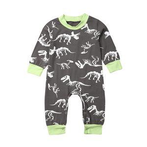 Babyspielanzug neugeborene Baby-Kleidung Jungen-Dinosaurier-Druck-Kleidung Langarm-Strampler Overall beiläufige Baumwolle Outfit Oansatz