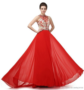 Red Prom Evening Dress 2018 New Arrival Beads Crystals Sexy Backless High Neck With Sash Plus Size Formal Gown LG0272