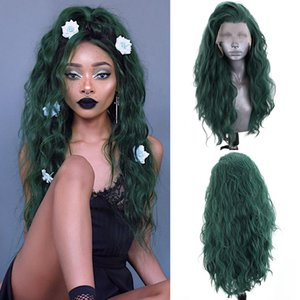 Cosplay Green Wigs Free Part Synthetic Lace Front Wig with Baby Hair Heat Resistant Hair Water Wave Wigs for Women