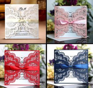Wedding Cards Vintage Embossed Tri-fold Wedding Invitation With Ribbon Bow Laser Cut Pocket Wedding Invitation Kit