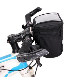 Cestino riflettente per bici a strisce riflettenti Borsa portaoggetti per biciclette Borsa per biciclette in poliestere Borsa per manubrio con telaio superiore di grandi dimensioni Pacchetto anteriore per biciclette all'aperto