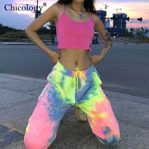 Chicology neon tie dye joggers high waist long baggy pants women sweatpants loose trousers 2019 autumn winter streetwear clothes