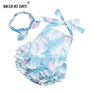 2018 Nouveau bébé Vêtements enfant chanceux coton volantée Flamingo barboteuses Bandeau Set nouveau-né Photographie Props cadeau de Noël S200107