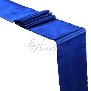 """5PCS New Royal Blue Satin Table Runners 12"""" x 108 '' Wedding Party Banquet Accueil Hôtel Décoration de table 30cm x 275cm Y200421"""