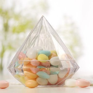 Wedding Party Home Clear Diamond Shape Transparent Plastic Favor Wedding Decoration Candy Box Clear Plastic Container LX2339