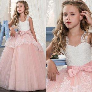 2020 Принцесса White Lace Розовый цветок девочки платья Прекрасные бальное платье партии Свадебные платья девушки с бантом Sash MC1791