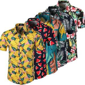 YENI 2019 Erkekler Hawaii Yaz Çiçek Baskılı Plaj Kısa Kollu Kamp Gömlek Gömlek 5 Renkler Tops