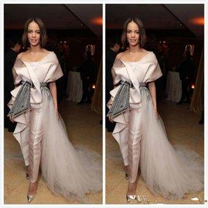 2020 Árabe Aso Ebi Champagne Noble Sexy Evening Dresses frisados Cristais Prom Vestidos Macacões baratos formal do partido Segundo Vestidos