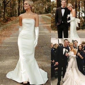 Elegant Wedding Dresses With Detachable Glove Strapless Sleeveless Bridal Dress Ruched Satin Sweep Train Cheap Vestidos De Novia
