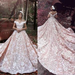 Blush Pink Spring Dreaming Goddess Eine Linie Brautkleider 3D Flora Appliques Sheer Back Off-Schulter Luxus Romantik Brautkleider BA3863