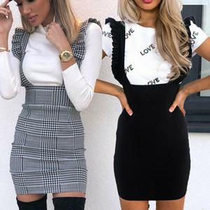 Moda Kadınlar Elbise Kontrol sadece Fırfır fırfır Pinafore Yüksek Bel BODYCON Parti Mini Casual İnce Elbise vestidos elbise