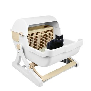 Adicional gatos domésticos semiautomática camada grande semi-cerrado la caja del gato de formación del tocador caja de arena del lecho cuñas Mascotas Pet gatito